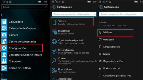 menu windows 10 configuracion telefono